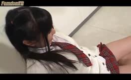 Sweet schoolgirl shits on male slave