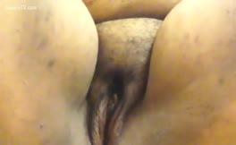 Smearing shit on shaved pussy