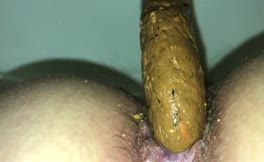 Hairy babe dropped a big turd