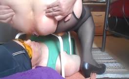 Fat mistress shits on slave