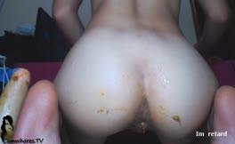 Hot latina using huge dildo to penetrate her ass