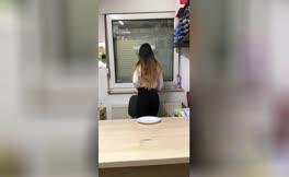 Hot latina shitting on white plate