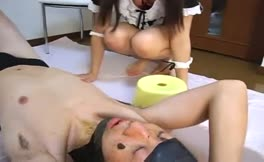 Brown haired babe shits on slave