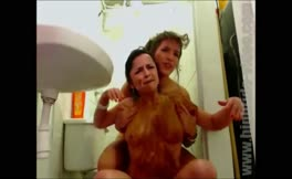 Lesbian girls love pooping on each other