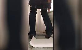 Curvy babe caught shitting in public bathroom