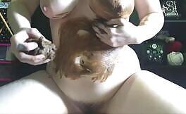 Busty milf masturbates after smearing poop