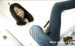 Horny japanese girls use public toilet