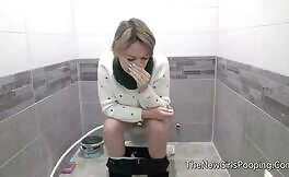 Blonde babe can't stand the smell of shit