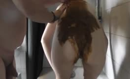 Rubbing poop on wife's pussy